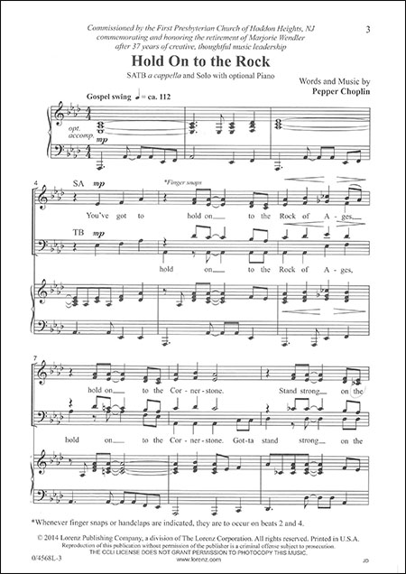 Choplin - Hold On to the Rock SATB