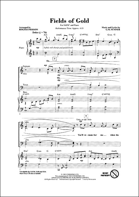 Emerson - Fields of Gold - SATB